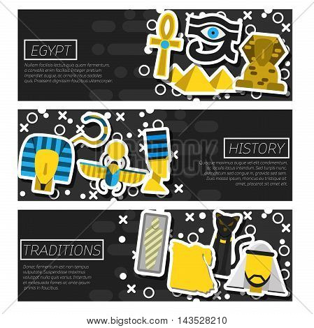 Set of Horizontal Banners about Egypt isolated vector illustration