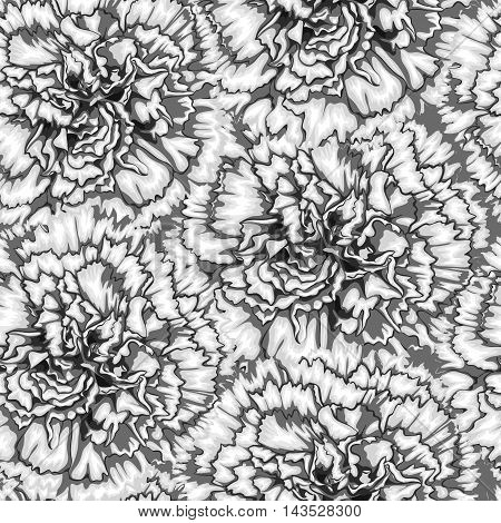 Beautiful monochrome black and white seamless background with carnation. Hand-drawn with effect of drawing in watercolor