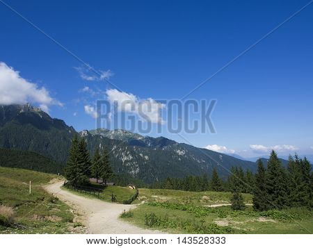 Caraiman peak - View from Bucegi National Park Mountains, Romania