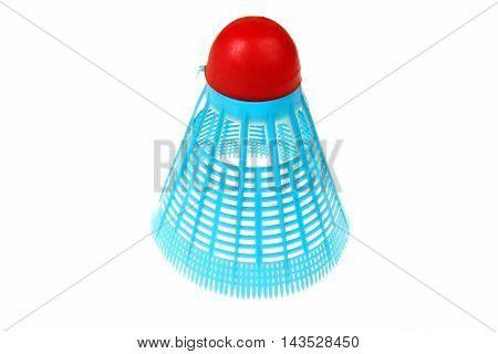 Blue plastic shuttlecock badminton on a white background