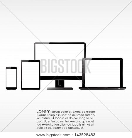Set of PC monitor smartphone laptop and computer tablet. Electronic devices with blank screens. Vector illustration.