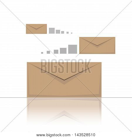 Picture with sending letters and messages, information exchange