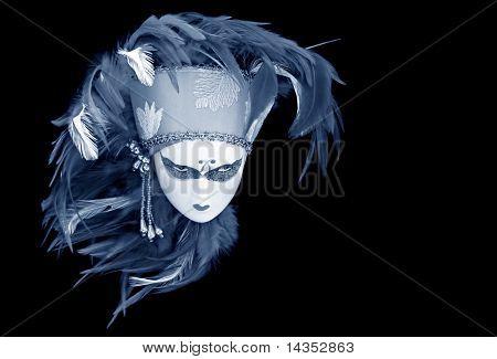 Boneca de máscara veneziana com cocar de pena.  Tom de azul.