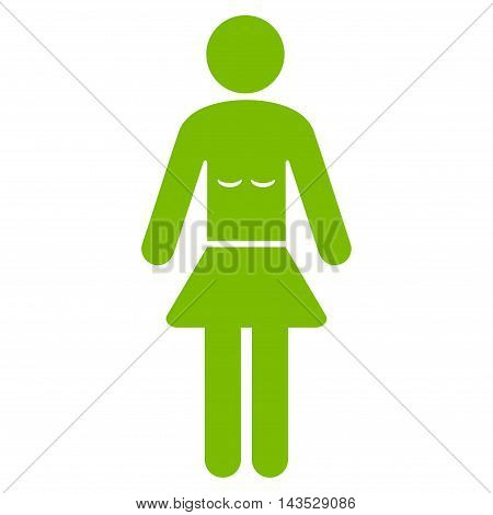 Lady icon. Vector style is flat iconic symbol with rounded angles, eco green color, white background.