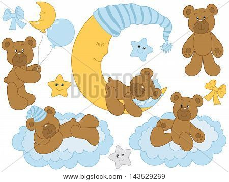 Vector cute baby bears with moon, clouds, stars and balloons - Baby Boy Set