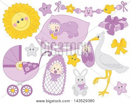 Vector baby set with newborn baby, stork, stroller and toys