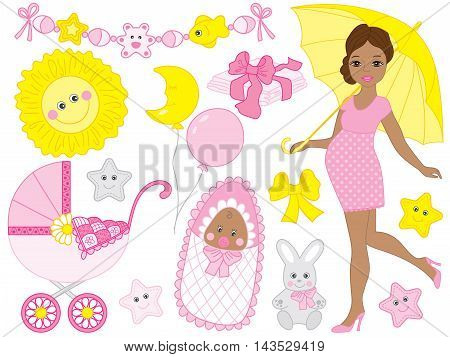 Vector African American pregnant woman set with baby girl