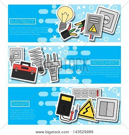 Set of Horizontal Banners about electricity. Vector illustration, EPS 10