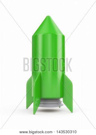 Simple green rocket on white background. 3d illustration