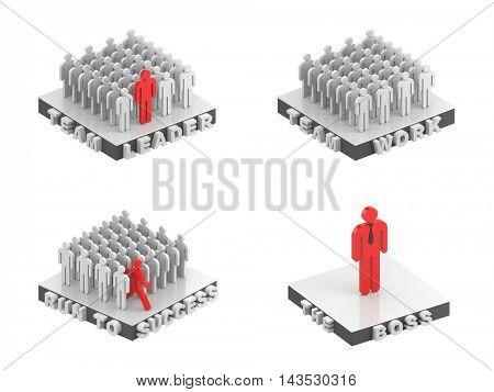 Business people metaphors. 3d illustration
