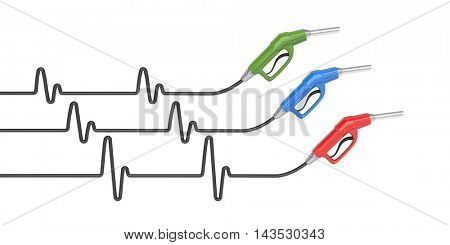 Pulse in oil prices. 3d illustration