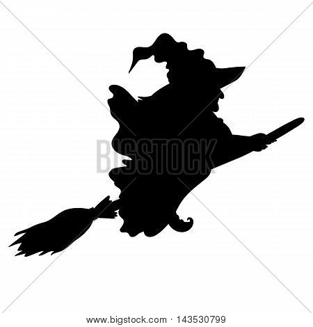 Vector Halloween flying witch silhouette with broomstick