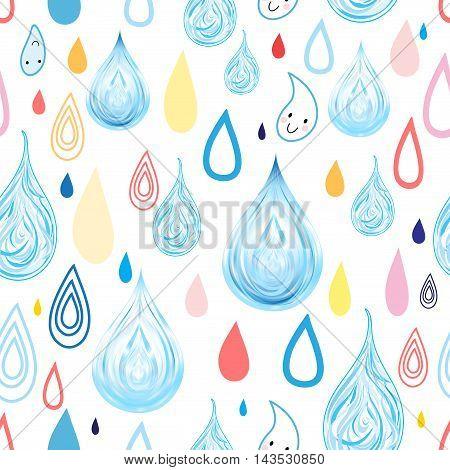 Seamless graphic pattern of autumn rain drops