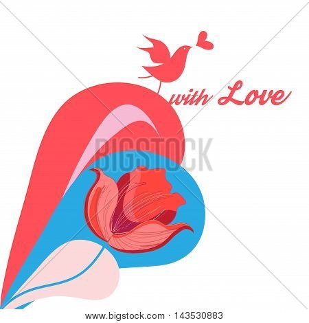 Greeting card with colorful bird in love on a white background