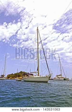 IBIZA, BALEARIC ISLAND, SPAIN, EUROPE - AUGUST 5, 2015: boat in the port of San Miguel.