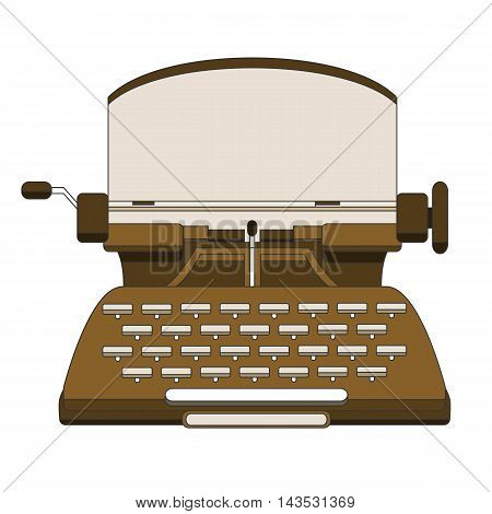 Flat and line design style modern vector illustration concept of a manual vintage stylish typewriter.