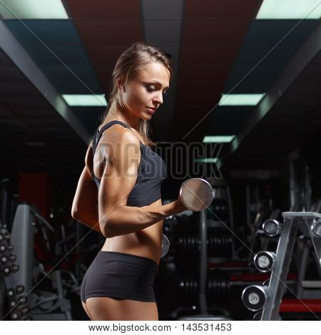 Fitness woman pumping up muscles with dumbbells. Fitness woman in the gym. Perfect physique athletic young woman with six pack, perfect abs, shoulders and biceps.