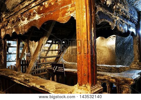 TURDA, ROMANIA - AUGUST 19TH 2016 - Inner view of Turda Salt Mine, wellknown landmark in Transylvania, Romania, Europe