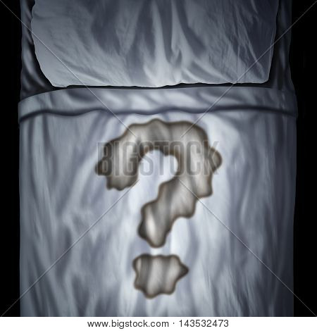 Bed wetting problem or bedwetting questions as a fluid stain on a mattress shaped as a question mark as a medical bladder health trouble or psychological issue durind sleep in a 3D illustration style.