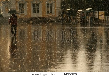 Summer Rain In Peterhof, Near Saint-Petersburg.