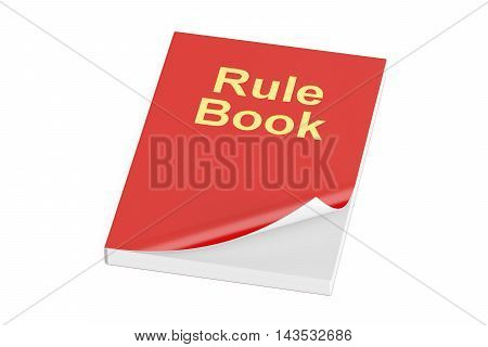 Rule book 3D rendering isolated on white background