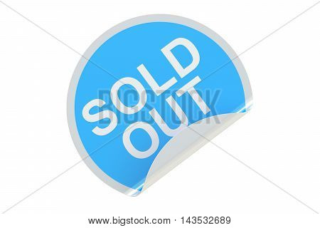 Sold Out concept blue circle sticker. 3D rendering isolated on white background