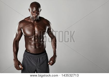 Shirtless Male African Model With Muscular Build