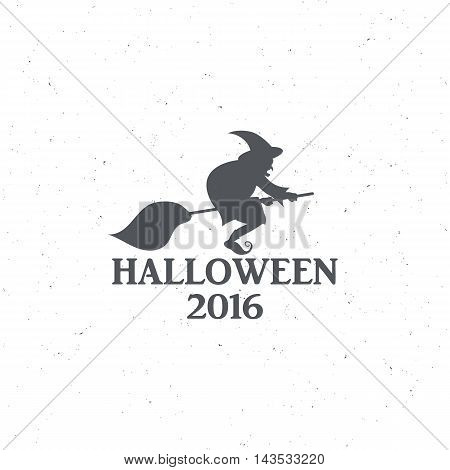 The emblem or poster for Halloween 2016 with a witch on a broomstick, for decorating party. Vector illustrations