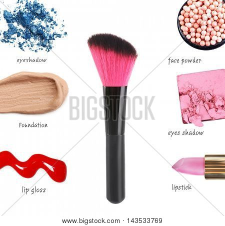 Makeup brush and cosmetics, isolated on white
