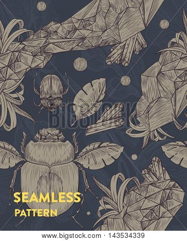 Trendy seamless floral pattern with scarabs, leaves and crystals on dark background. Vector illustration