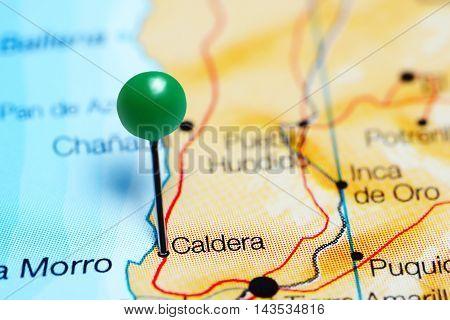 Caldera pinned on a map of Chile