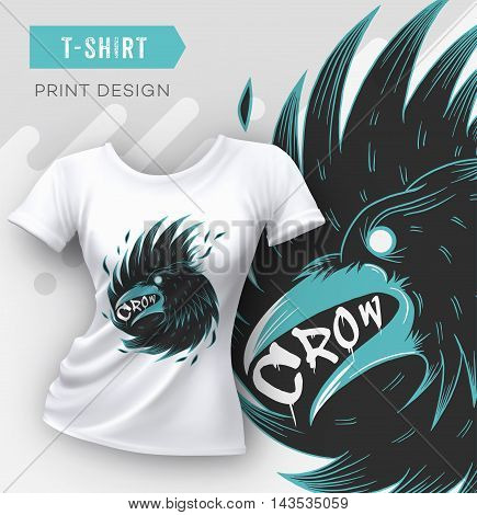 Abstract modern t-shirt print design with crow. Vector illustration.