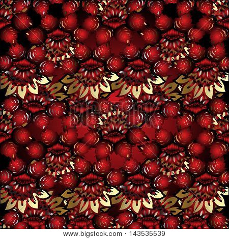 Red abstract floral vector seamless pattern background with vintage gold flowers and red volumetric ornaments. Luxury illustration and royal 3d decor elements with shadow and highlights. Endless elegant  texture.