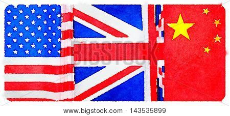 Digital watercolor painting of American British and Chinese flags arranged in order to show order of countries winning the games. America first with gold United Kingdom second with silver and China third with bronze.
