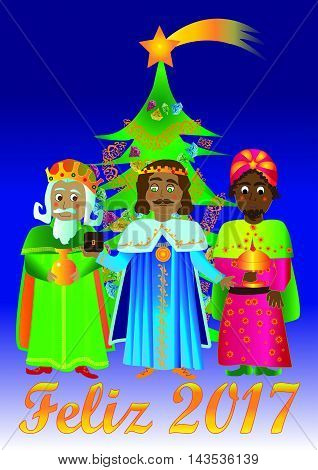 Happy 2017 with the three Magi and a Christmas tree. Christmas card