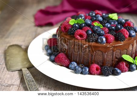 Chocolate Cake With Fresh Forest Berries.