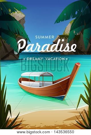 Tropical paradise poster. Seaside view with a boat. Summer vacation concept background. Vector.