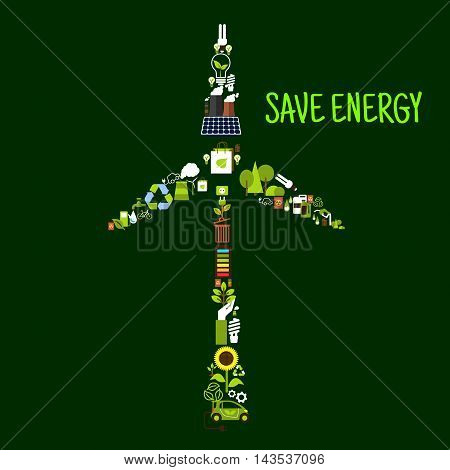 Save energy banner with wind turbine symbol formed of electric cars, solar panel, recycling signs, saving energy light bulbs, green plants, trees and leaves, biofuel, bicycles, batteries, fuming indastrial pipes and radioactive wastes flat icons