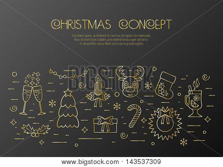 Christmas black concept with decorated Christmas gold elements and attributes in a thin line for prints. Flat design. Vector illustration
