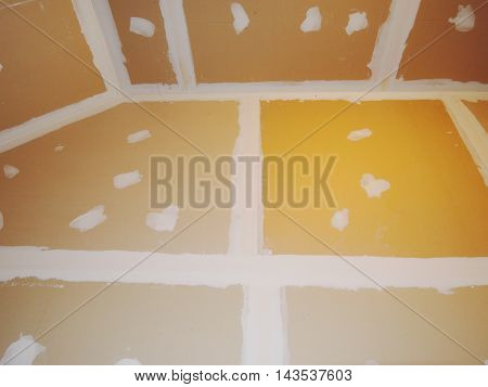 close up gypsum board ceiling of house