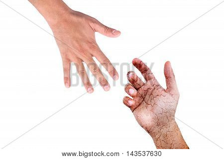 helping hand grunge blood male hand takes male hand on white background