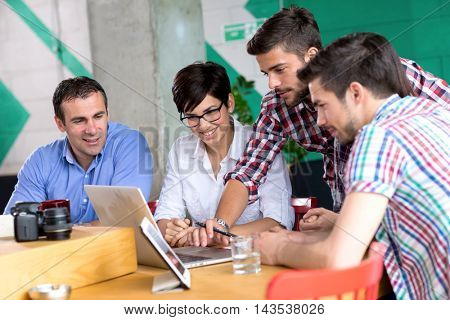 businessman meeting  to students in coffee shop