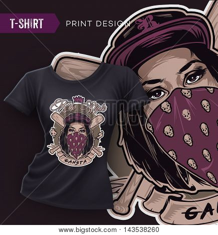 Swag t-shirt design with pretty hip hop girl face. Vector illustration