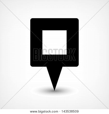 Map pin location sign rounded square icon in flat style. Simple black shapes with gray gradient oval shadow on white background. This web design element vector illustration save in 8 eps