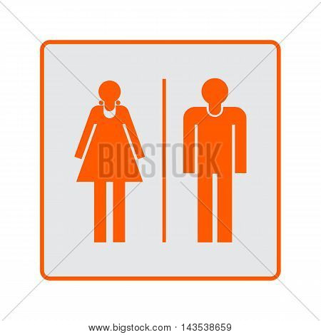 Male and female restroom sign icon on white background.