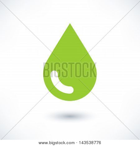 Green color drop icon with gray shadow on white background. Ecology sign in simple solid plain flat style. This vector illustration graphic web design graphic element saved in 8 eps