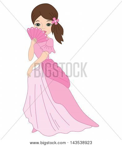 Vector beautiful princess with fan in pink dress