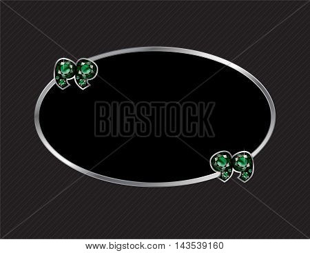 Emerald Stone Quotes on Silver Metal Speech Bubble over Pinstripe Background