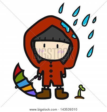 Cute girl in red rain coat illustration