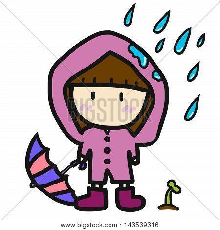Cute girl in pink rain coat illustration